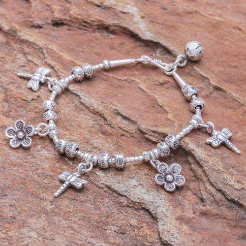 Dragonfly-Themed Karen Silver Beaded Charm Bracelet 'Dragonfly Daisies'