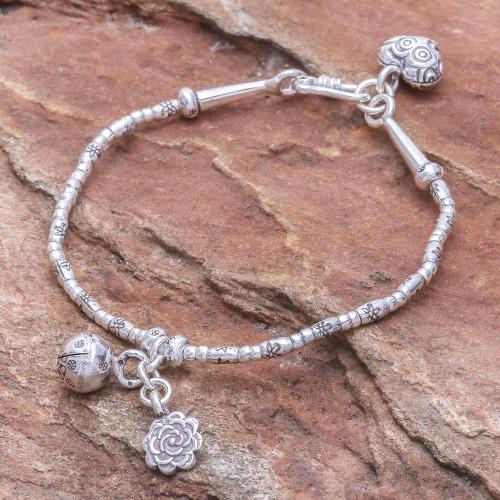 Floral Karen Silver Beaded Bracelet with Bell Charm 'Floral Sound'