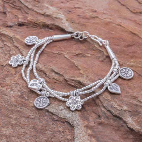 Floral Charm Karen Silver Beaded Bracelet from Thailand 'Dainty Garden'