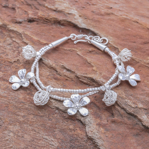 Karen Silver Beaded Bracelet with Floral Charms 'Floral Forest'