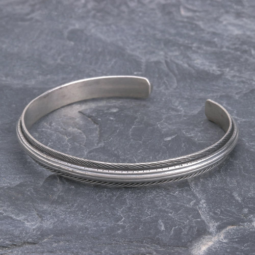 Artisan Crafted Sterling Silver Cuff Bracelet 'Feather Flow'