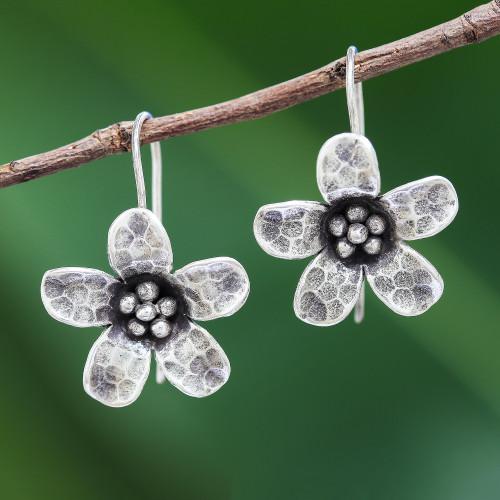 Karen Hill Tribe Silver Daisy Flower Drop Earrings 'Dappled Daisy'