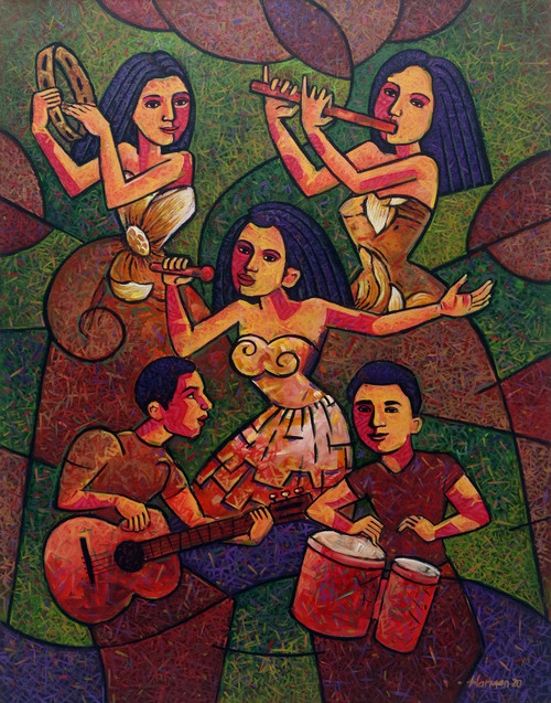 Expressionist Painting of Maya Musicians in Bright Colors 'Melayu Music'