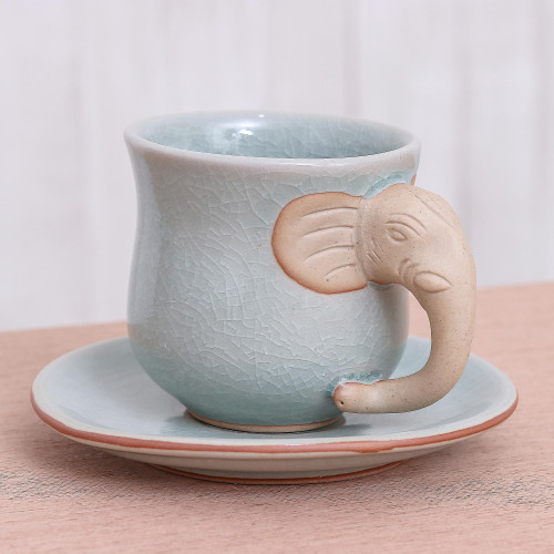 Aqua Celadon Cup and Saucer with Elephant Motif 'Elephant Gaze'