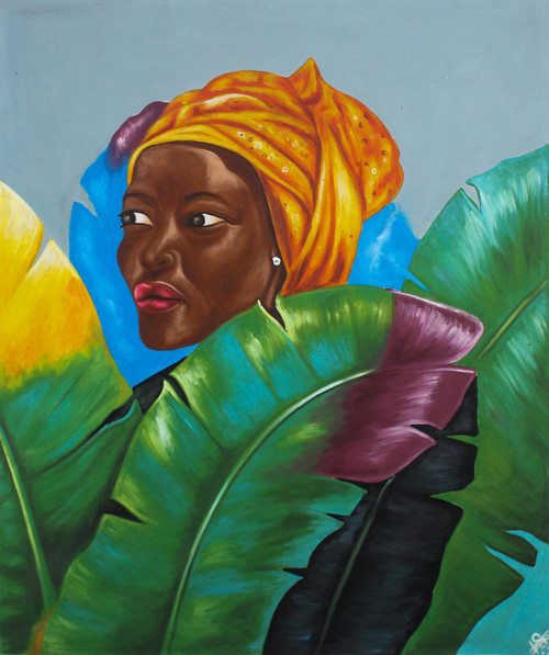Acrylic on Canvas Portrait of African Woman 'Ideal Woman'