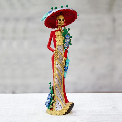 Hand Crafted and Painted Ceramic Catrina Sculpture 'La Catrina Esperanza'