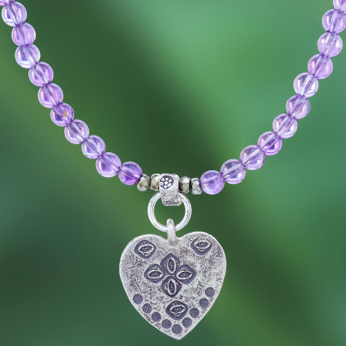 950 Silver Heart Pendant Necklace with Amethyst Beads 'Emboldened Heart'