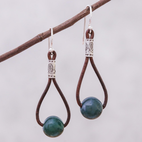 Hill Tribe Green Agate and Leather Dangle Earrings 'Karen Culture'
