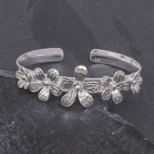 Hammered Sterling Silver Flower Cuff Bracelet 'Blossom Row'
