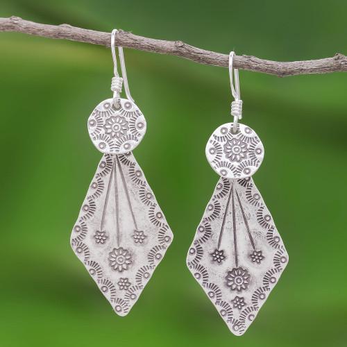 Karen Hill Tribe Style Sterling Silver Earrings 'Karen Arrow'