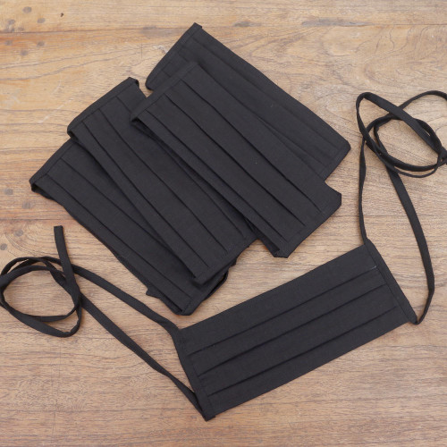 Set of 5 Artisan Crafted Tie-On Black Cotton Face Masks 'Three Pleats'