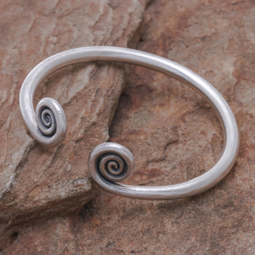 Hill Tribe 950 Silver Spiral Cuff Bracelet 'Fiddlehead Fern'