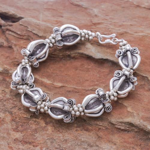 Ornate 950 Silver Hill Tribe Style Link Bracelet 'Ornate Baubles'