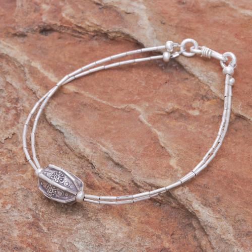 Karen Hill Tribe Beaded 950 Silver Pendant Bracelet 'Karen Pleat'