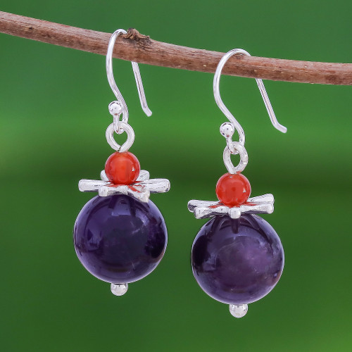 Amethyst and Carnelian Earrings with Hill Tribe Silver 'Hover'