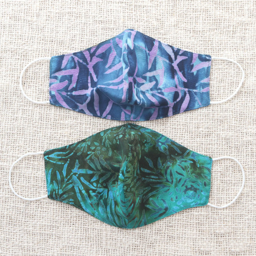 2 Extra Wide Double Layer Rayon Batik Face Masks 'On the Island'