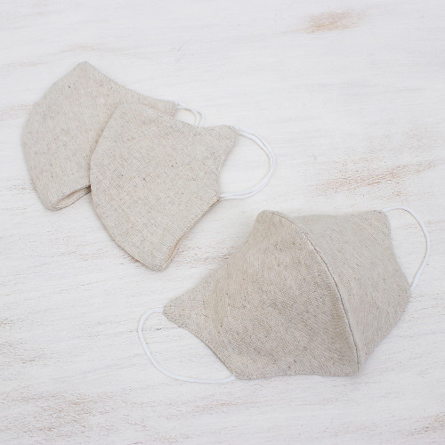 Set of 3 Artisan Crafted Neutral Hemp and Cotton Face Masks 'Subtle Nature'