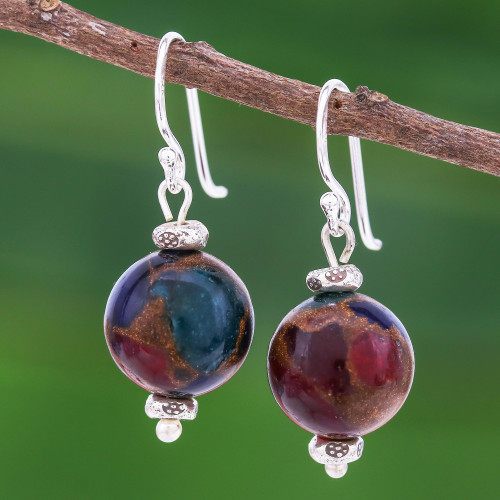950 Silver and Glass Bead Dangle Earrings 'Fantastic Journey'