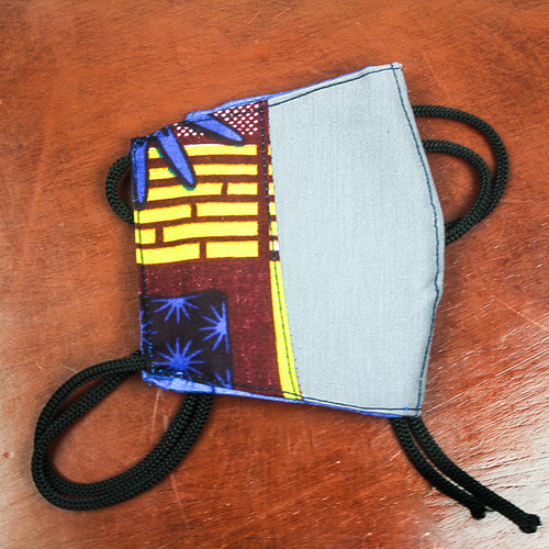 Ghanaian Cotton Patchwork 2-Layer Tie on Face Mask 'Courageous Colors'