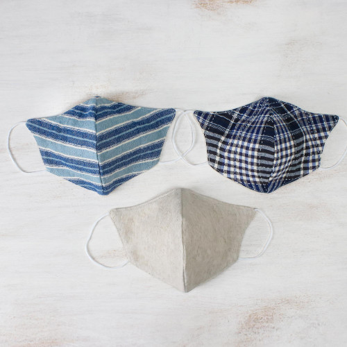 Three Handcrafted Thai Face Masks-1 Hemp and 2 Blue Cotton 'Spirit of the Sea'
