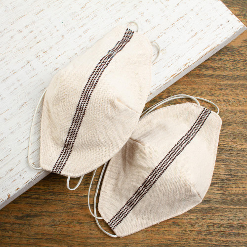 2-Layer Ivory and Brown Cotton Face Masks Pair 'Chocolate Kisses'