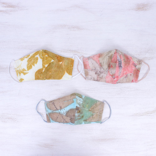 3 Eco-Dyed Pink-Aqua-Gold Print Cotton 3-Layer Face Masks 'Serene Nature'