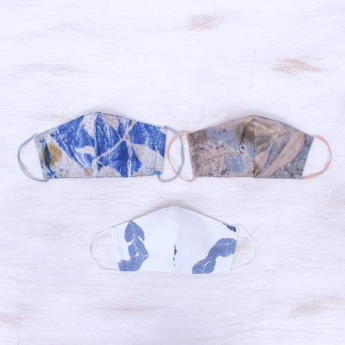 3 Eco-Dyed Blue-White-Grey Print Cotton 3-Layer Face Masks 'Blue Nature'