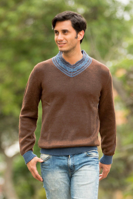 Andean Brown and Blue Alpaca Blend Men's Sweater 'Orcopampa Prowler'