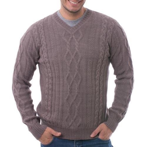 Men's Knit 100 Alpaca Pullover in Dusty Lavender from Peru 'Dusty Lavender Style'