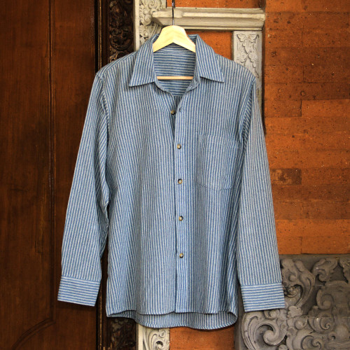 Blue Striped Long-Sleeved Men's Cotton Shirt from Guatemala 'Pacific Ocean'