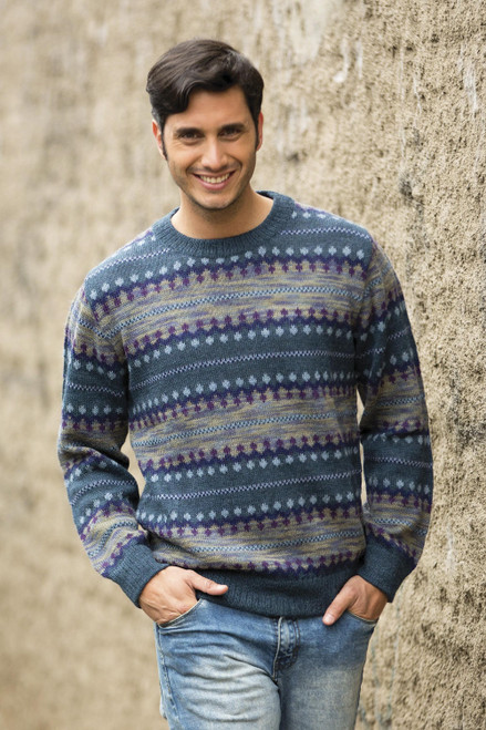Men's Patterned Andean 100 Alpaca Sweater in Shades of Blue 'Cajamarca Blues'