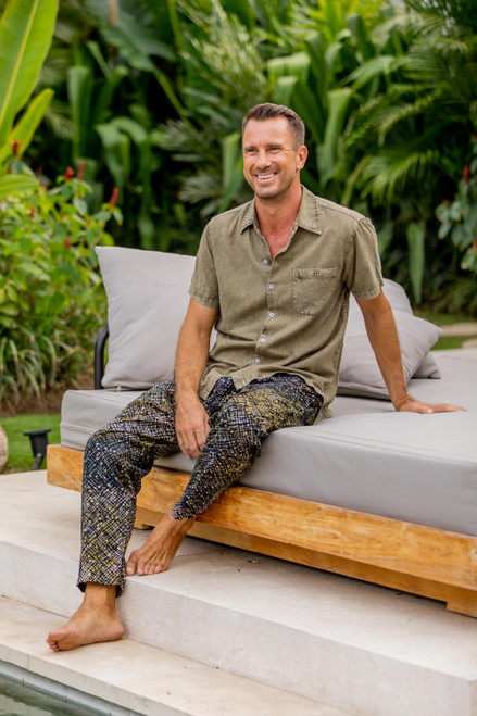 Printed Men's Cotton Pants in Brown from Bali 'Faraway Stars'