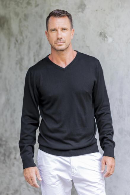 Men's V-Neck Cotton Blend Pullover from Peru 'Warm Adventure in Black'