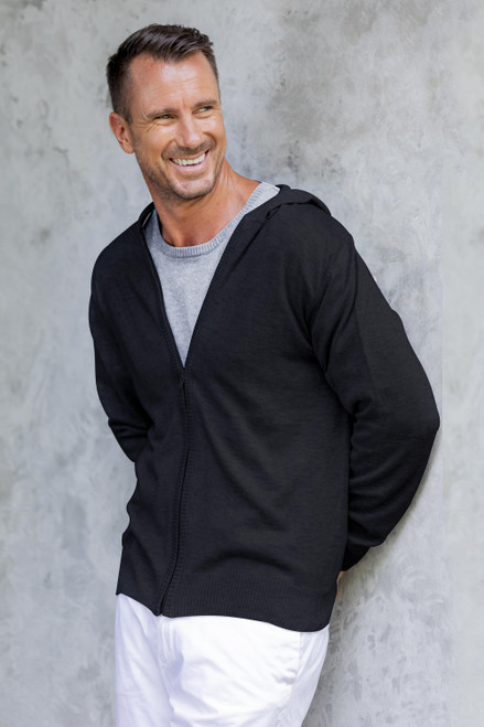 Black Cotton Blend Men's Hoodie Sweater 'Licorice Black Adventure'