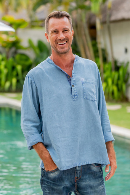 Henley-Style Men's Cotton Blend Shirt in Sky Blue from India 'Casual Man in Sky Blue'