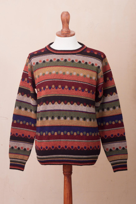 Men's Striped 100 Alpaca Pullover Sweater from Peru 'Autumnal Andes'