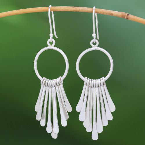 Handmade Karen Silver Waterfall Earrings from Thailand 'Karen Cascade'