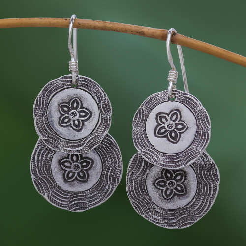 Round Floral Karen Silver Dangle Earrings from Thailand 'Floral Cyclones'