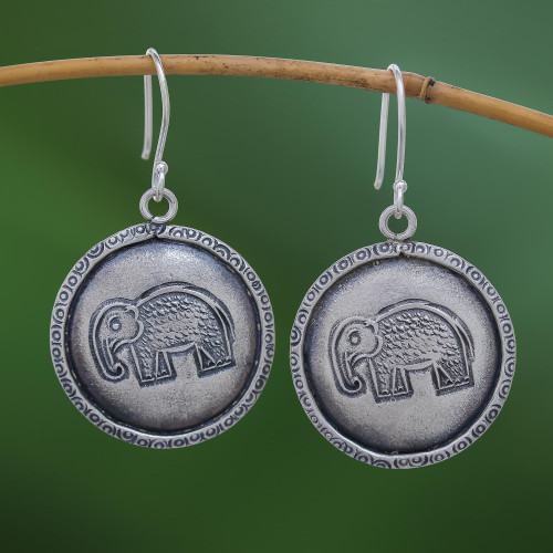 Elephant Stamp Karen Silver Dangle Earrings from Thailand 'Elephant Portraits'