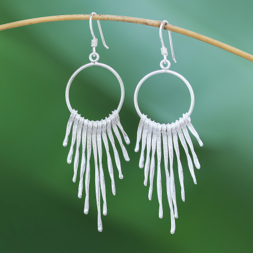 Twisted Karen Silver Waterfall Earrings from thailand 'Cool Cascade'