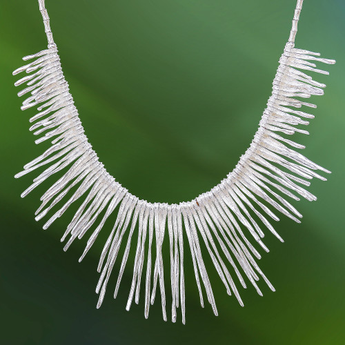 Twisted Karen Silver Beaded Waterfall Necklace from Thailand 'Cool Cascade'