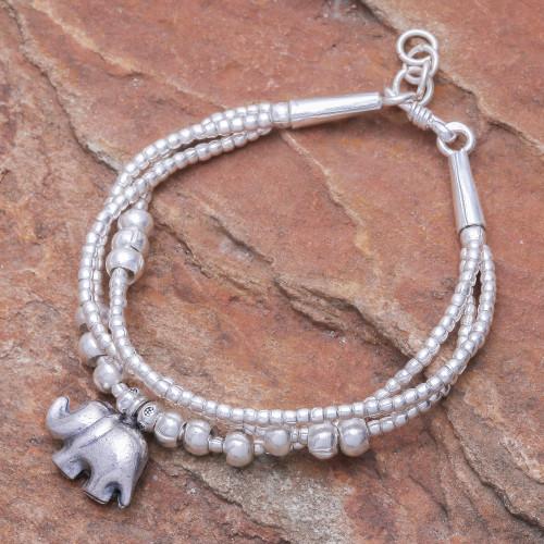Thai Karen Hill Tribe Silver Elephant Bracelet 'Little Karen Elephant'