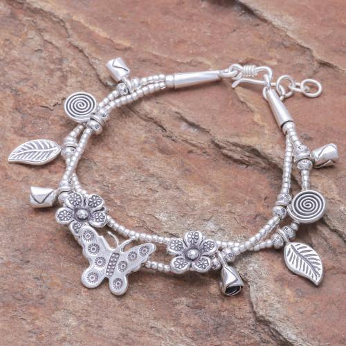 Karen Silver Double Strand Beaded Dragonfly Charm Bracelet 'Butterfly Meadow'