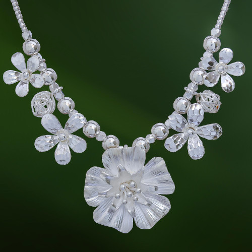 Floral Karen Silver Beaded Pendant Necklace from Thailand 'Glimmering Bouquet'