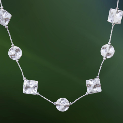 Long Hill Tribe 950 Silver Station Necklace 'Karen Geometry'