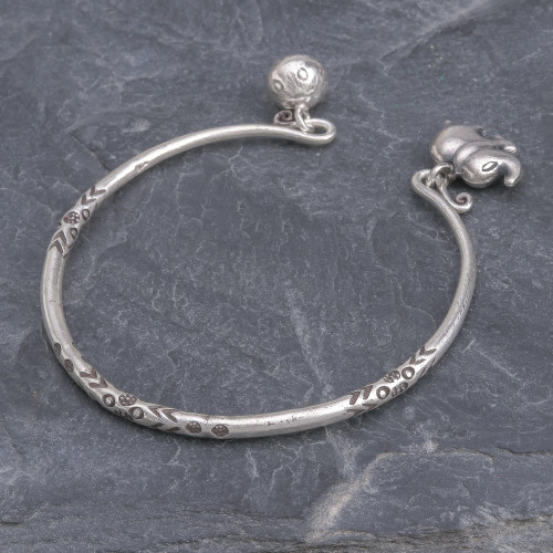 Thai Karen Hill Tribe Silver Cuff Elephant Bracelet 'Song of the Mountains'
