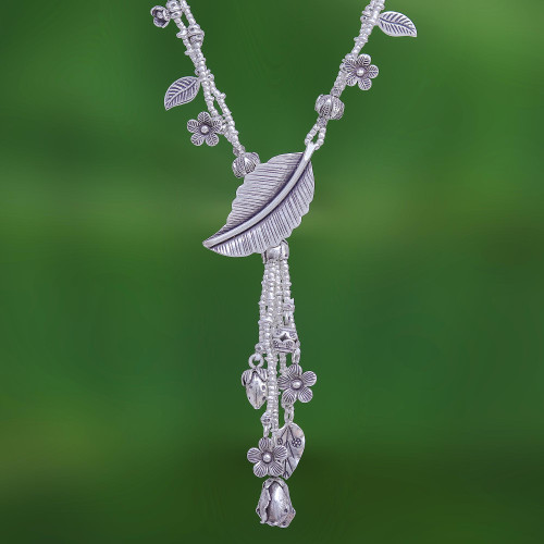 Thai Hill Tribe Style Nature-Themed Silver Y-Necklace 'Natural Bounty'