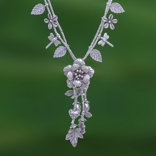 Nature-Themed 950 Silver Y-Necklace from Thailand 'Garden Beauty'