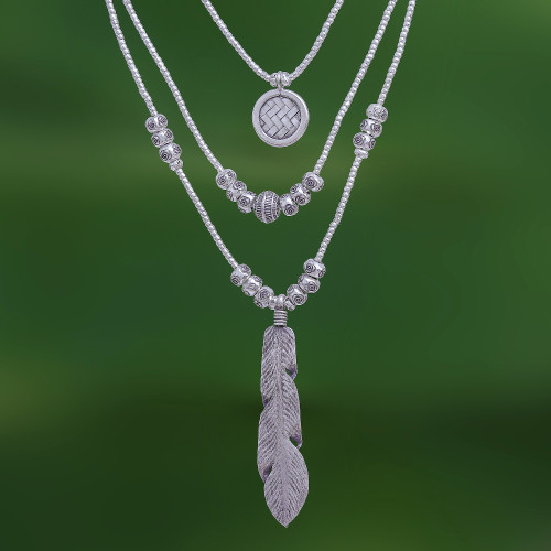 Three Strand Hill Tribe 950 Silver Necklace 'Hill Tribe Trend'