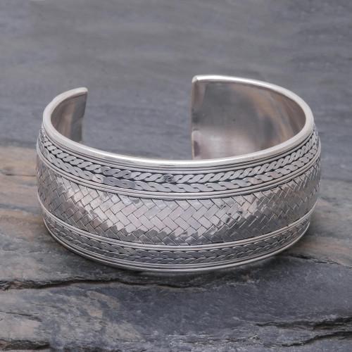 Woven Design Sterling Silver Cuff Bracelet 'Wave Effects'